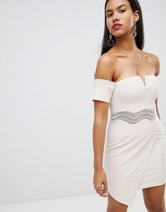 Read more about Rare london asymmetric bardot mini dress - cream