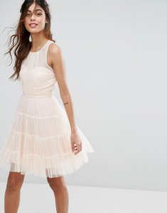 Read more about Little mistress tulle mini dress in tiers - nude
