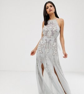Read more about Asos design tall maxi dress with pinny bodice and embellished artwork