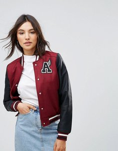 Read more about Qed london varsity bomber jacket with badge detail - wine
