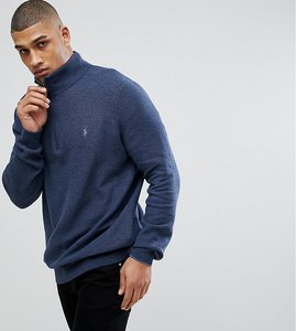 Read more about Polo ralph lauren tall texture pima cotton knit jumper half zip polo player in navy marl - navy heat