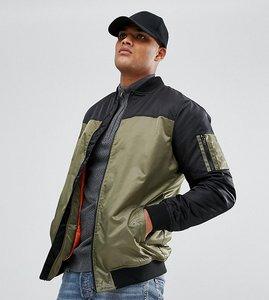 Read more about Jacamo tall colour block bomber jacket in khaki - blk khaki