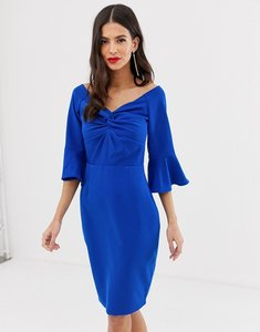 Read more about Paper dolls off shoulder pencil midi dress with knot front detail