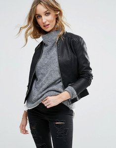 Read more about Vila leather look jacket - black
