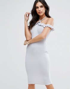 Read more about Ax paris cold shoulder frill detail midi dress - silver grey