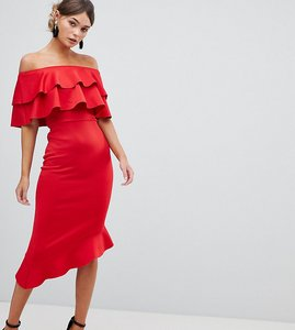 Read more about Silver bloom frill front bardot midi dress - red