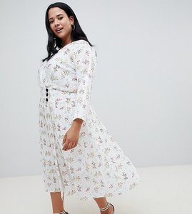 Read more about Asos design curve pleated maxi dress with side buttons in ditsy floral - multi