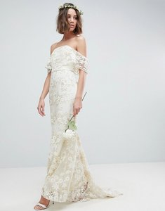 Read more about Asos edition bandeau wedding maxi dress in floral lace - ivory