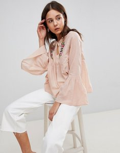 Read more about Glamorous smock top with tie front and floral embroidery - blush