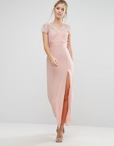 Read more about Elise ryan scalloped lace maxi dress with v back - nude
