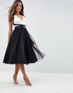 Read more about Asos premium tulle midi prom dress with ribbon ties - mono