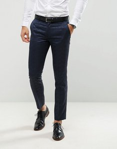 Read more about Farah skinny tuxedo suit trousers in jacquard - navy