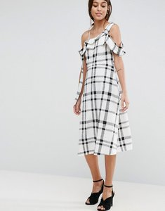 Read more about Asos one shoulder origami midi dress in mono check - multi