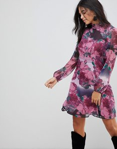 Read more about Traffic people ruffle neck skater dress in rose print - purple