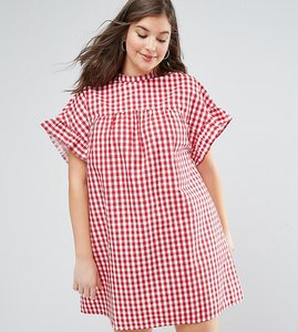 Read more about Asos curve red gingham smock dress - red gingham