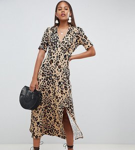 Read more about Asos design tall animal print midi tea dress - multi