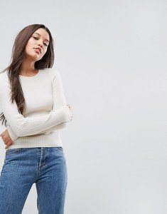 Read more about Asos jumper with crew neck in rib - cream