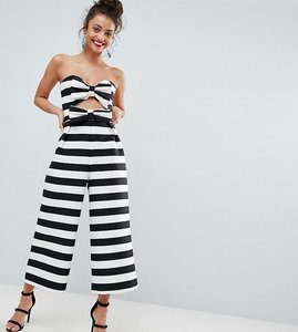 Read more about Asos tall bow jumpsuit in structured fabric in stripe - mono