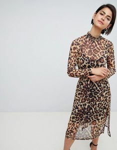 Read more about Asos design leopard printed mesh midi dress with shirring details - leopard print