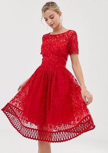 Read more about Chi chi london premium lace prom dress with cutwork hem in red - red