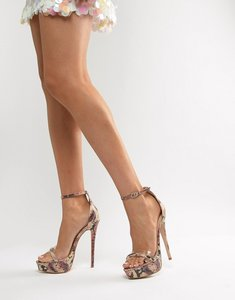 Read more about Simmi scandal snake clear detail platform stiletto sandals - multi