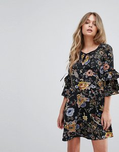 Read more about Yumi smock dress with necktie and tie sleeve detail - black floral