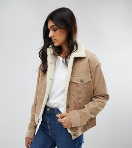Read more about Asos tall cord jacket with borg collar in stone - stone