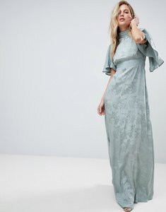 Read more about Asos maxi dress with floaty sleeve in soft floral jacquard - sea green