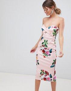 Read more about Asos design floral twist front scuba bodycon dress - print
