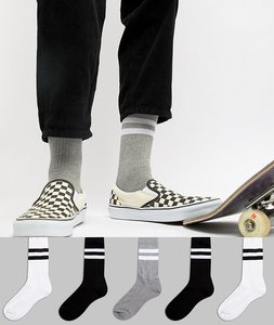 Read more about Asos sports style socks 5 pack in monochrome with stripes - black