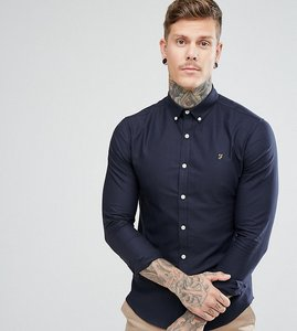 Read more about Farah skinny fit button down oxford shirt in navy - navy 454