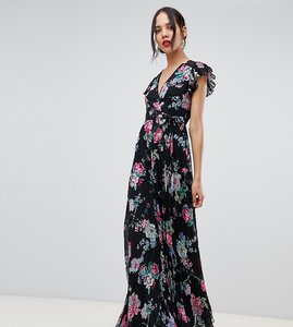 Read more about Asos design tall pleated wrap maxi dress flutter sleeve in floral print