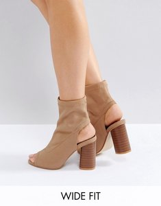 Read more about Truffle collection wide fit peep toe heeled shoe boots - taupe