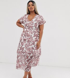 Read more about Missguided plus frill layered midi dress in floral print