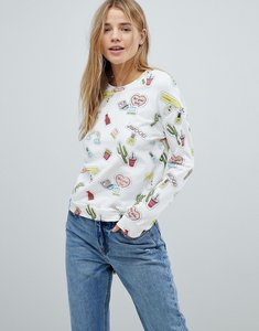 Read more about Glamorous long sleeve top - white novelty print