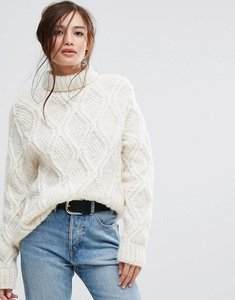 Read more about People tree hand knitted cable knit unbleached wool high neck oversized jumper - cream