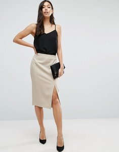 Read more about Asos premium high waist pencil skirt with seam detail - stone