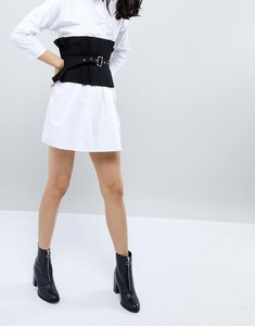Read more about Asos pleated wide causal corset belt with belt overlay - black