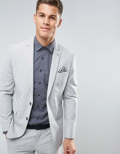 Read more about Farah skinny suit jacket in crosshatch - pale grey