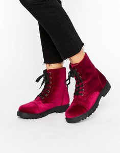 Read more about Truffle velvet hiker boot - burgundy velvet