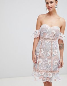 Read more about True decadence off shoulder embroidered dress - pink blue embroidery