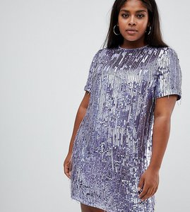 Read more about Asos design curve mini shift dress in heavily embellished fringed sequin - purple