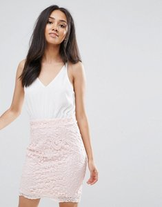 Read more about Ax paris cream 2 in 1 crochet skirt mini dress - cream pink