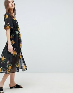Read more about Influence button front kimono sleeve midi dress in floral print - black