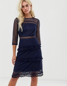 Read more about Liquorish layered lace 3 4 sleeve midi dress - navy