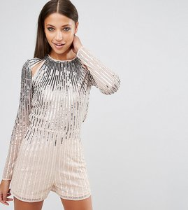 Read more about Asos tall night ombre sequin playsuit with cut outs - multi