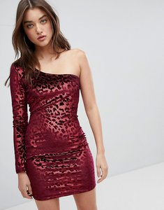 Read more about Naanaa one shoulder bodycon dress in velvet leopard - red