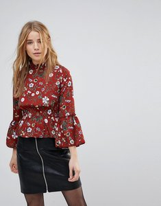 Read more about Parisian high neck floral printed blouse - rust