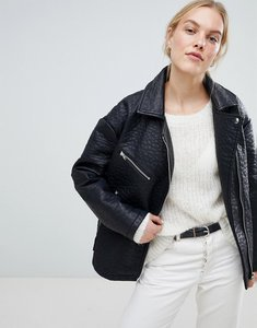 Read more about Asos design oversized faux leather jacket - black