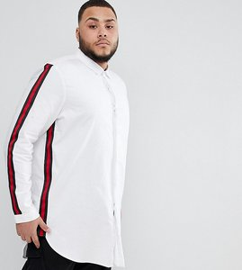 Read more about Asos design plus regular fit super longline shirt with taping - white